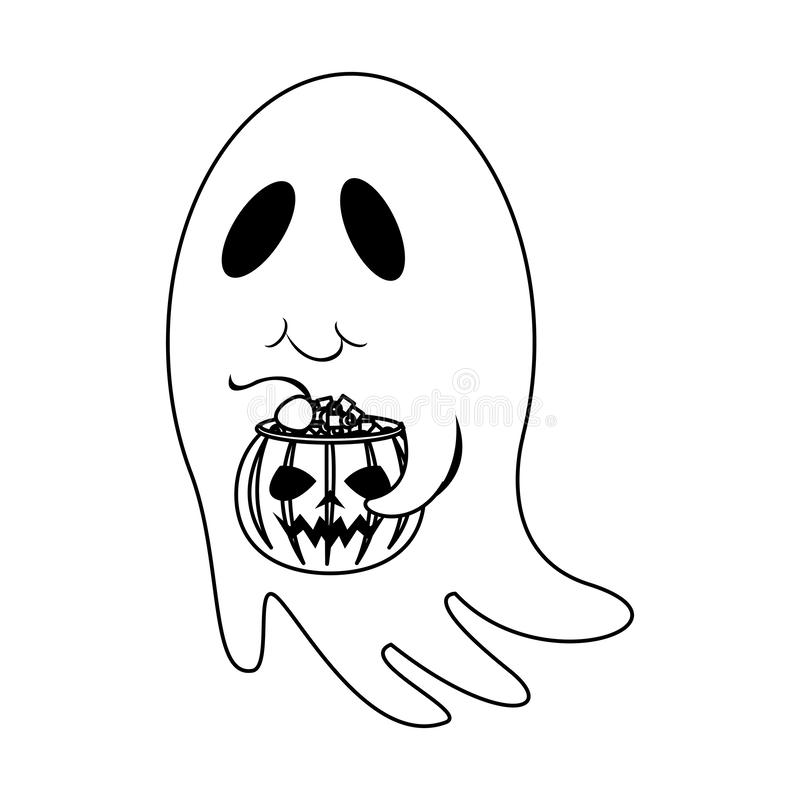 Halloween october scary celebration cartoon in black and white. Halloween october scary celebration ghost with pumpkin candys pot isolated cartoon vector stock illustration