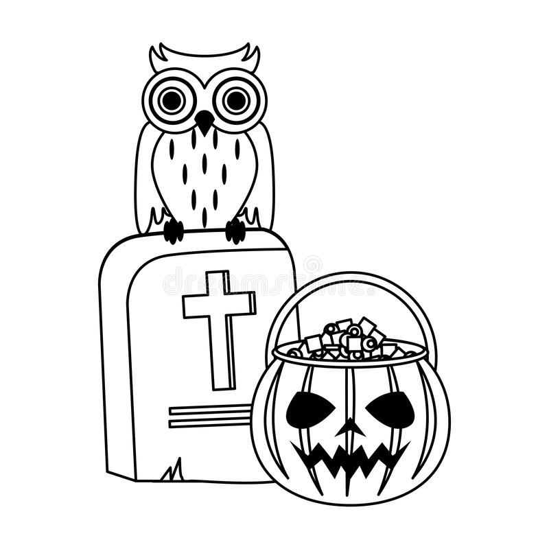 Halloween october scary celebration cartoon in black and white. Halloween october scary celebration, pumpkin candys pot with stone and owl cartoon vector royalty free illustration