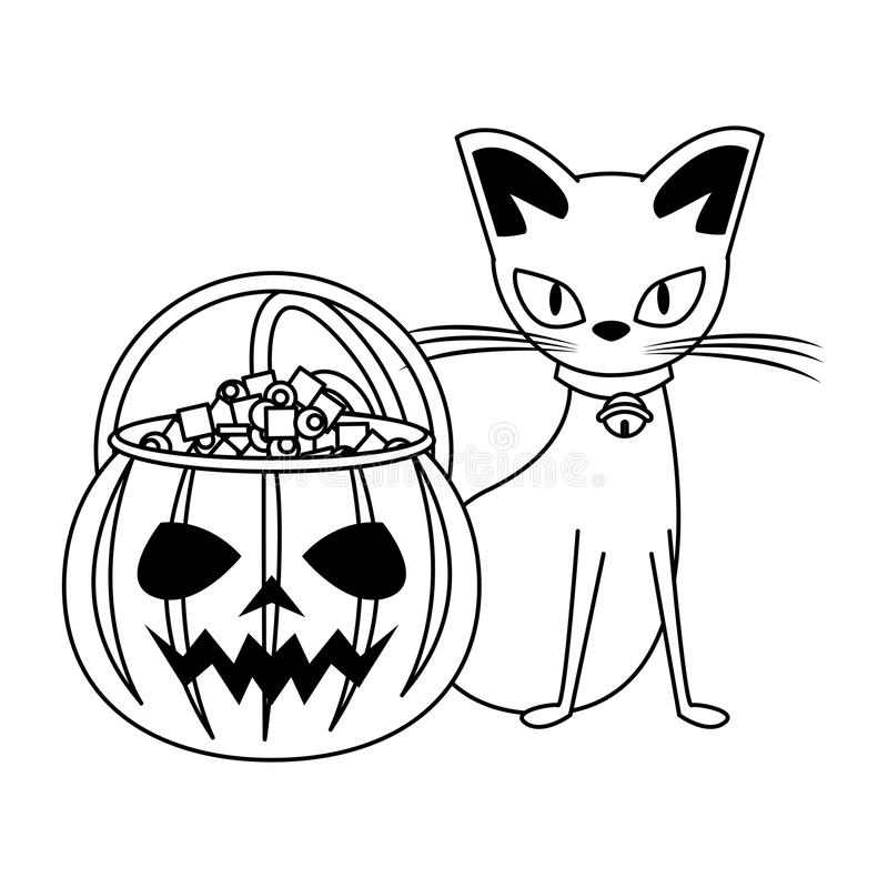 Halloween october scary celebration cartoon in black and white. Halloween october scary celebration, witch cat with pumpkin candys pot cartoon vector stock illustration