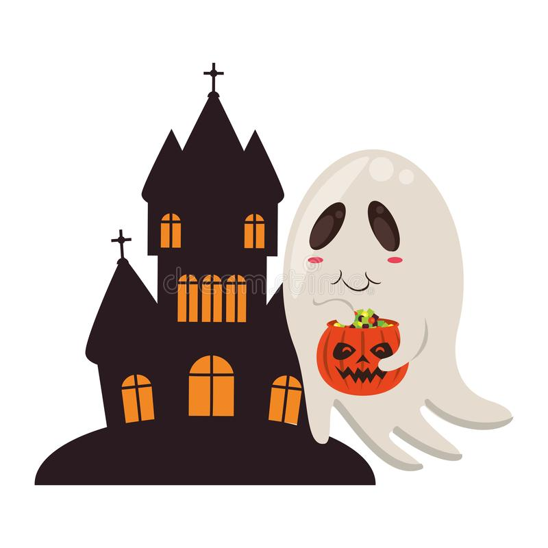 Halloween october scary celebration cartoon. Halloween october scary celebration ghost with pumpkin candys pot in front dark house isolated cartoon vector stock illustration