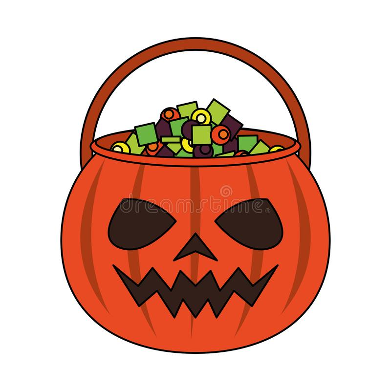 Halloween october scary celebration cartoon. Halloween october scary celebration, pumpkin candys pot cartoon vector illustration graphic design stock illustration