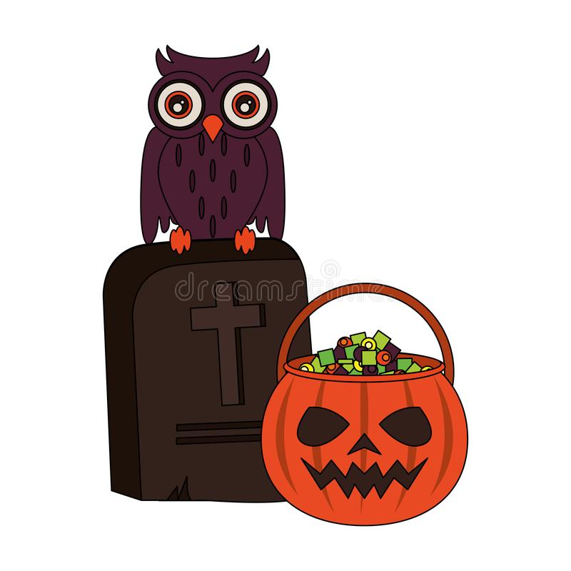 Halloween october scary celebration cartoon. Halloween october scary celebration, pumpkin candys pot with stone and owl cartoon vector illustration graphic royalty free illustration