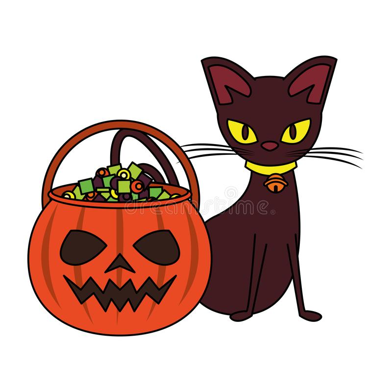 Halloween october scary celebration cartoon. Halloween october scary celebration, witch cat with pumpkin candys pot cartoon vector illustration graphic design stock illustration