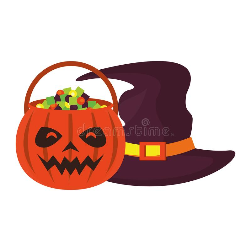 Halloween october scary celebration cartoon. Halloween october scary celebration, witch hat with pumpkin candys pot cartoon vector illustration graphic design royalty free illustration