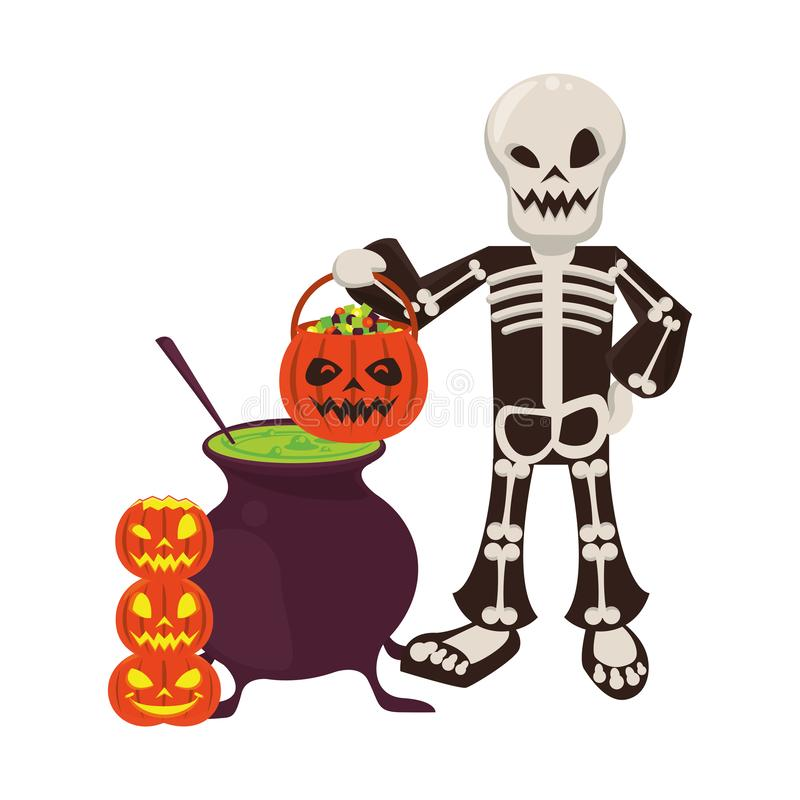 Halloween october scary celebration cartoon. Halloween october scary celebrationm skull death man holding pumpkin candys pot cartoon vector illustration graphic vector illustration