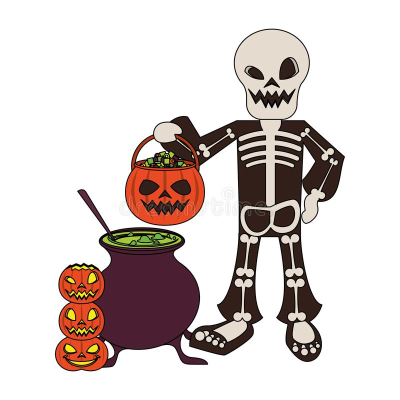 Halloween october scary celebration cartoon. Halloween october scary celebrationm skull death man holding pumpkin candys pot cartoon vector illustration graphic royalty free illustration