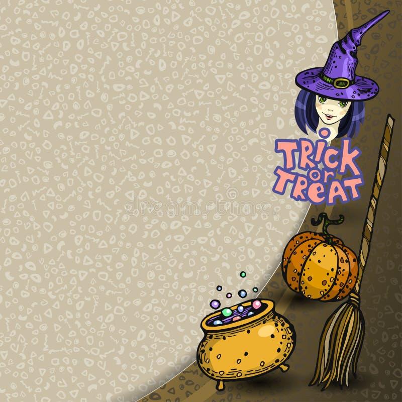 Halloween od tła blasku księżyca uwagi Miejsce dla twój teksta Wektor rama z banią, miotłą, bojlerem i czarownicą w kapeluszu, Tr ilustracji