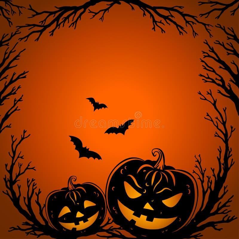 Halloween od tła blasku księżyca uwagi Straszne drzewo gałązki, nietoperze i dyniowi lampiony, royalty ilustracja