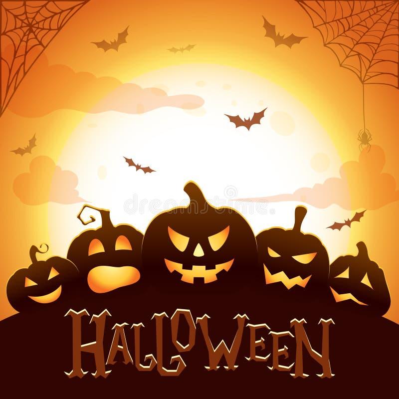 Halloween odizolowane tło charakteru ponad plakat Jarzący się Halloweenowe banie, lata nietoperze, pająka i sieci na abstrakcjoni royalty ilustracja