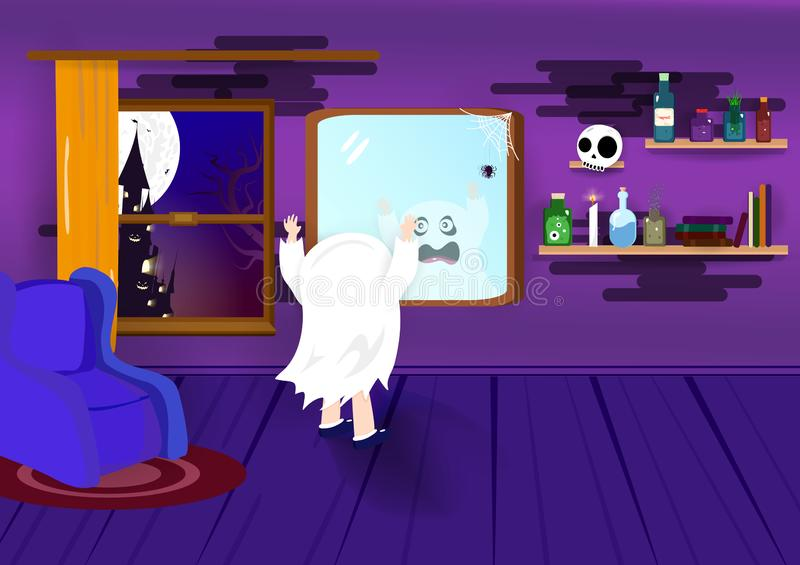 Halloween, okrzyki niezadowolenia, dzieciaki, straszny kostium w nocy przyjęcia kreskówki pojęciu, pokoju grodowy wnętrze, plakat ilustracja wektor