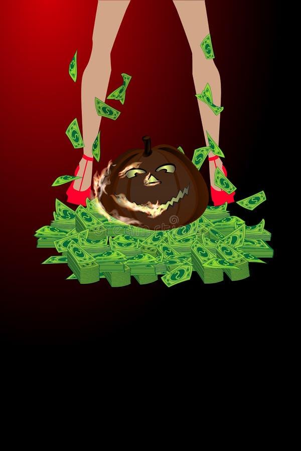 Halloween Online spelen Overwinning en pot vector illustratie