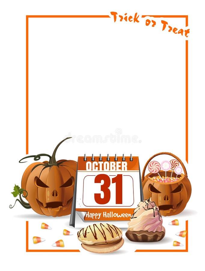 Halloween-ontwerp met kalender en hefboomo lantaarn vector illustratie