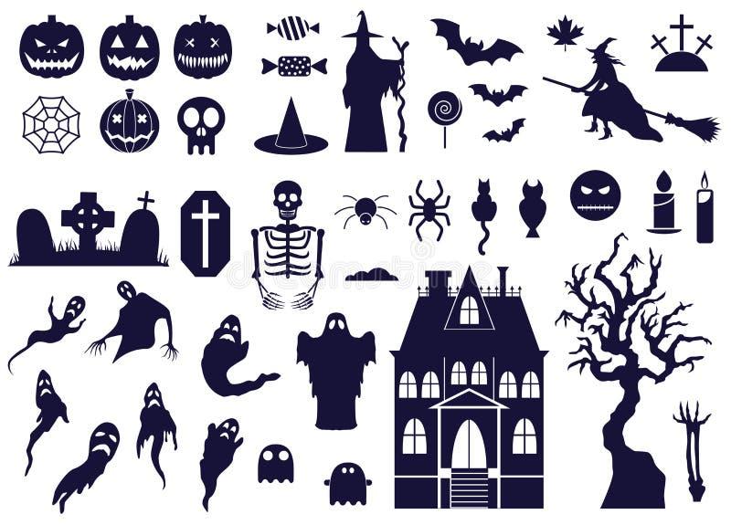 Halloween-Ontwerpelementen met BW-Pictogrammen worden geplaatst dat stock illustratie