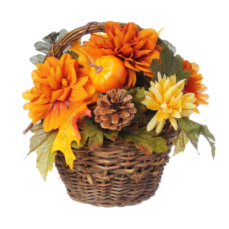 Free Halloween Or Thanksgiving Bouquet With Pumpkin And Autumn Flowers In Basket, Isolated Stock Photo - 33088060