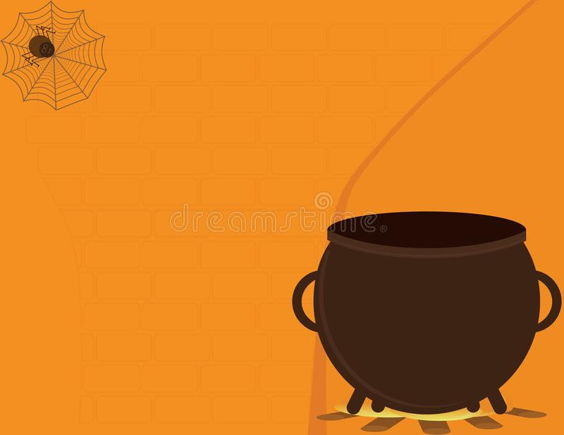 Halloween Orange background with spider and Brown copper. Halloween Orange background with spider and Brown cauldron on fire vector illustration