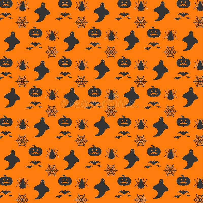 Halloween orange festive seamless pattern. Endless background wi stock illustration