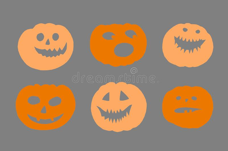 Halloween orange paper decorations - various scary pumpkin faces. Composites on grey background stock images