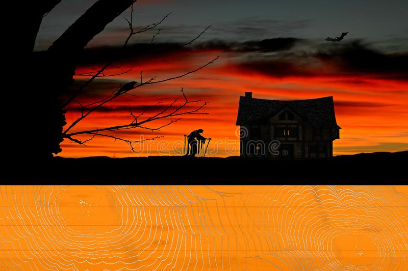 Halloween orange pumpkin colored wooden table covered in spider webs with a witch and horror house scenery in the background. Halloween a orange pumpkin colored stock illustration