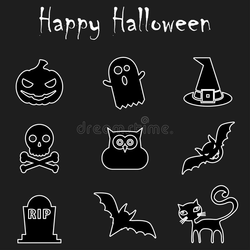 Halloween Outline Icons. Happy Halloween.  vector isolated on black background. All in a single layer. Flat Line Icons For Halloween Icons Vector Illustration stock illustration