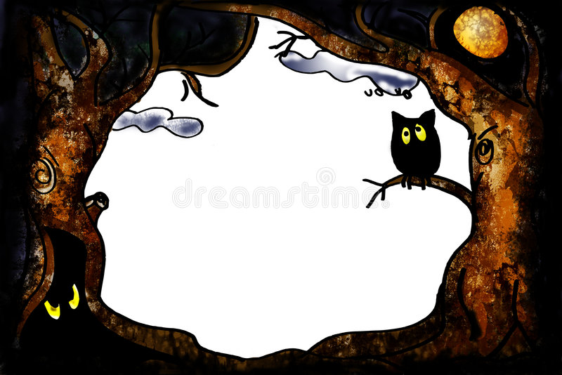 Halloween owl border stock illustration