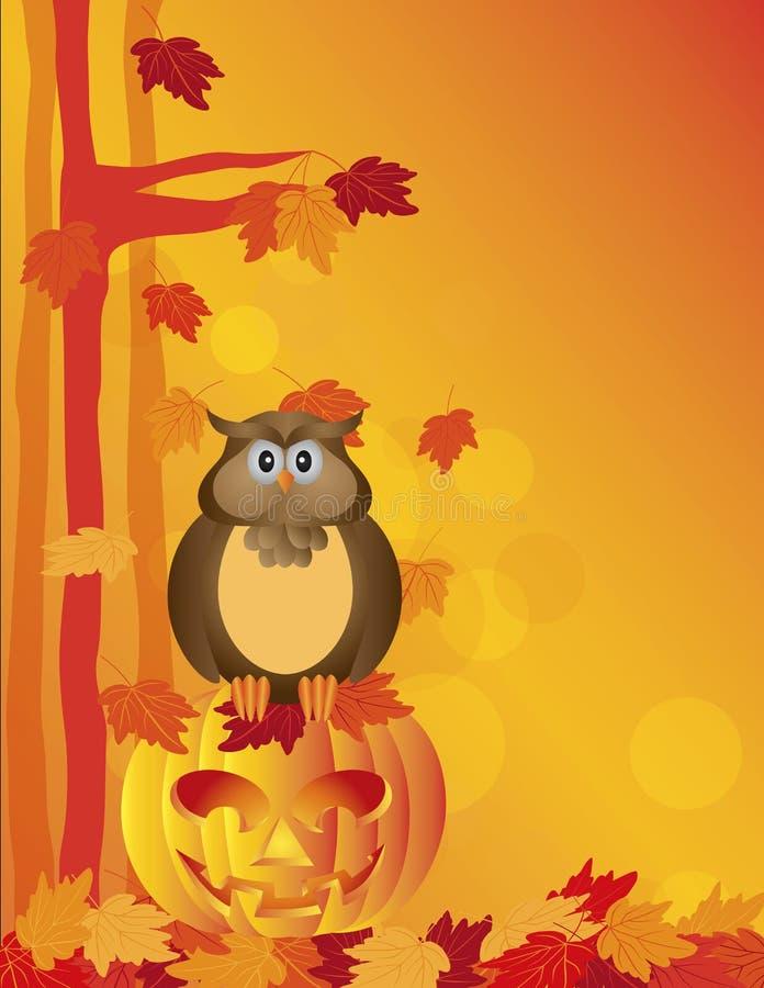 Halloween Owl Sitting en la calabaza en Forest Illustration ilustración del vector