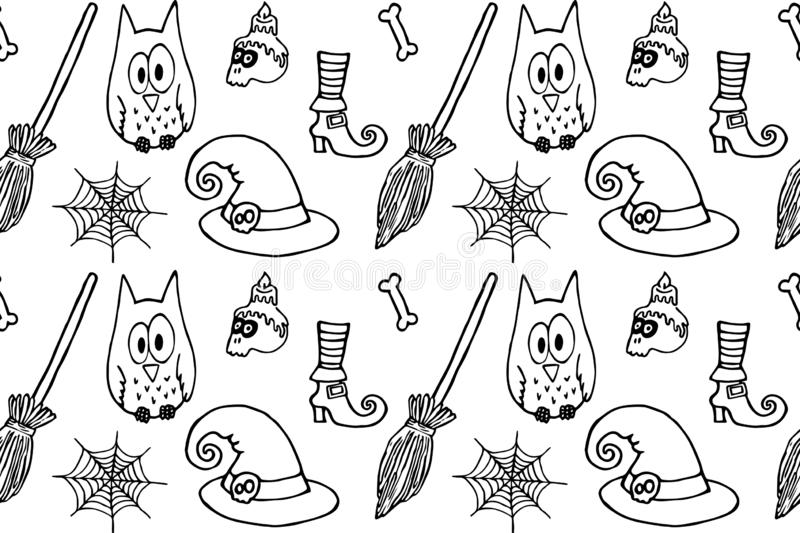 Halloween owl, skull, witch hat, spider web and bones, black line on an isolated background pattern vector illustration