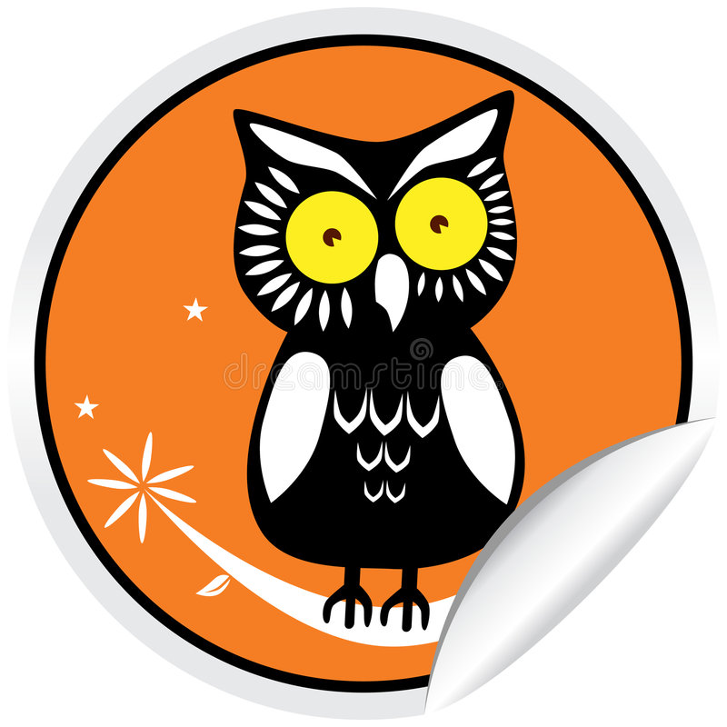 Free Halloween Owl Sticker Royalty Free Stock Photography - 9363267