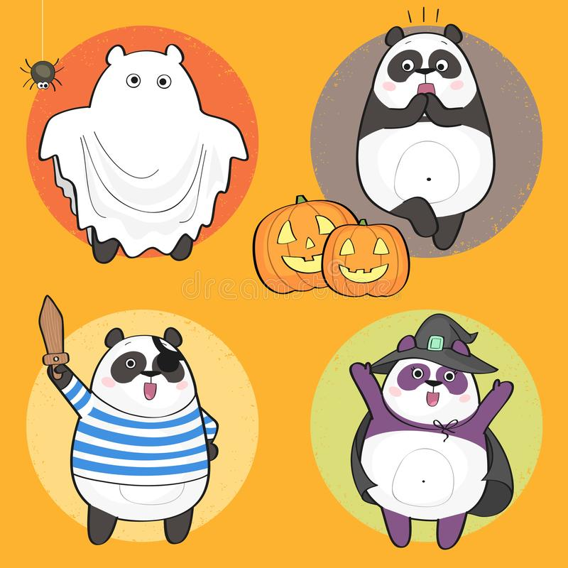 Halloween-Panda lizenzfreie abbildung