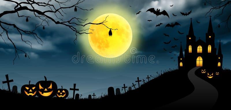 Halloween panorama vector illustration