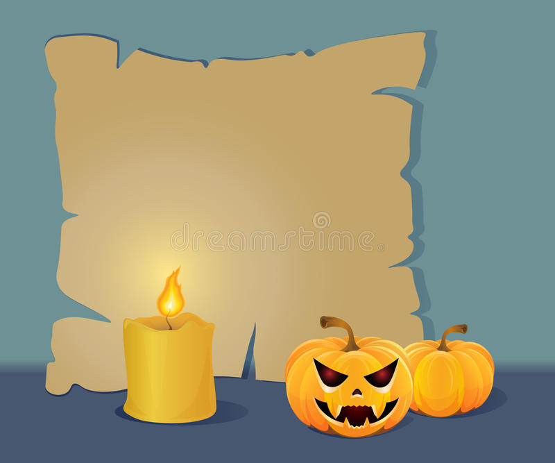 Halloween paper board with a candle stock image