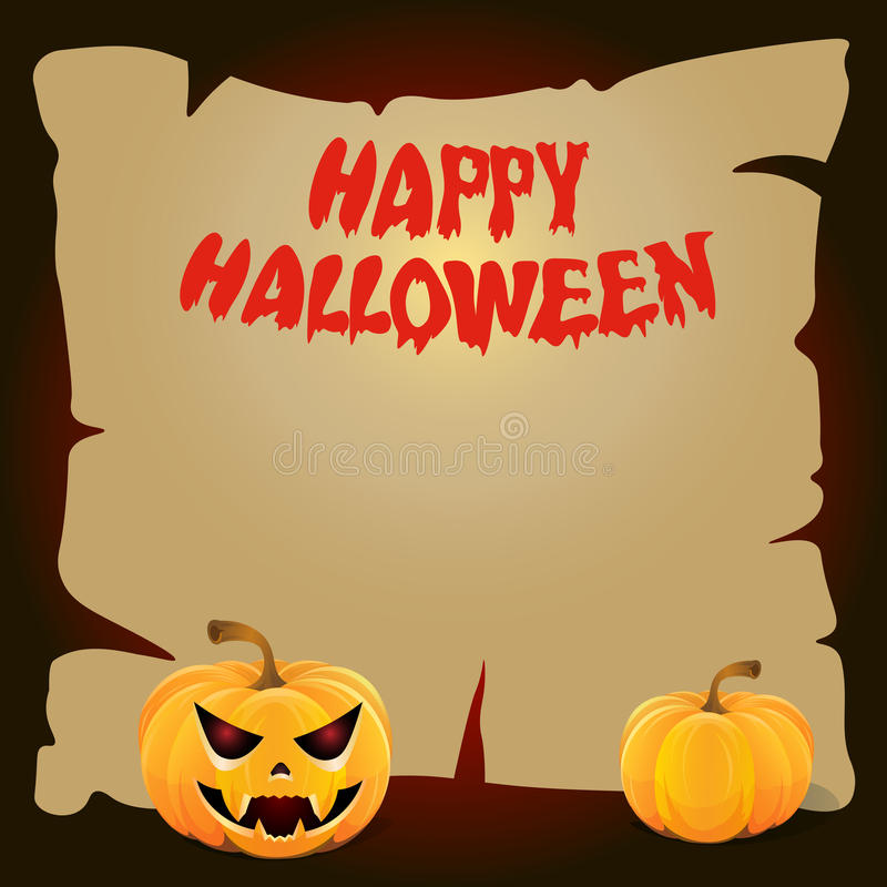Halloween paper board with a yellow pumpkin stock image