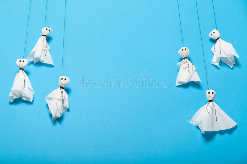 Halloween paper craft, scary ghosts for kids. Copy space for text royalty free stock photo