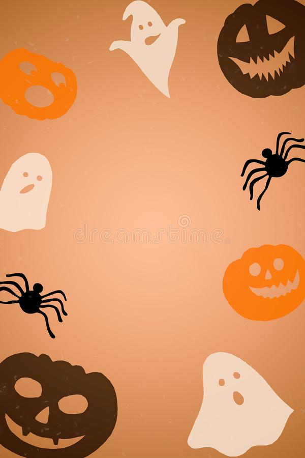 Halloween paper decorations background - bats, ghosts, pumpkins. Halloween frame, copy space royalty free stock photography