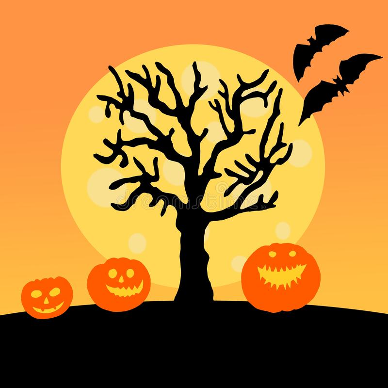 Halloween paper decorations card. Halloween pumpkins with scary faces under tree on orange background royalty free stock photography
