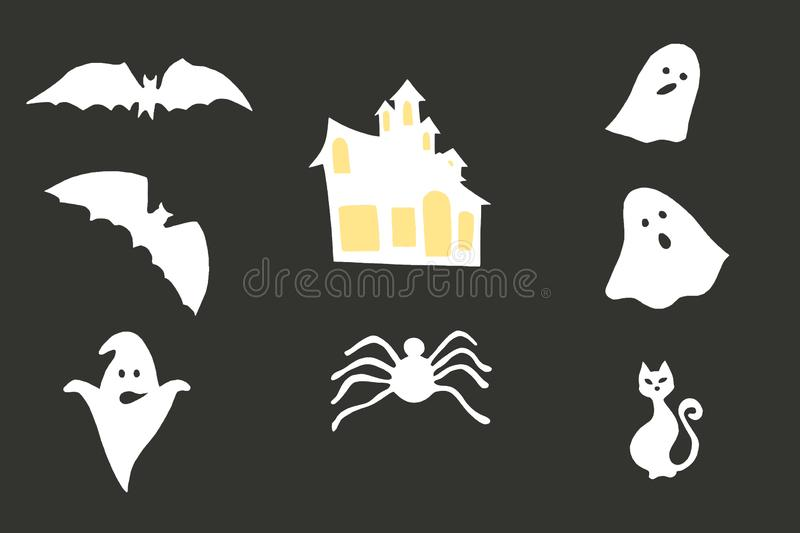 Halloween paper decorations - bats, ghosts, spider, scary house. Composites on grey background royalty free stock image
