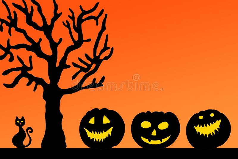 Halloween paper decorations card. Halloween pumpkins with scary faces under tree on orange background stock image