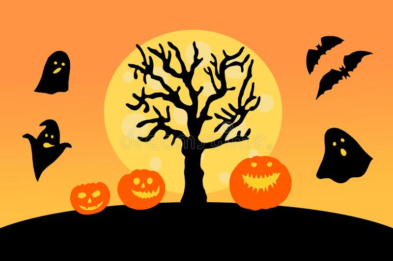 Halloween paper decorations card. Halloween pumpkins with scary faces under tree on orange background royalty free stock photos