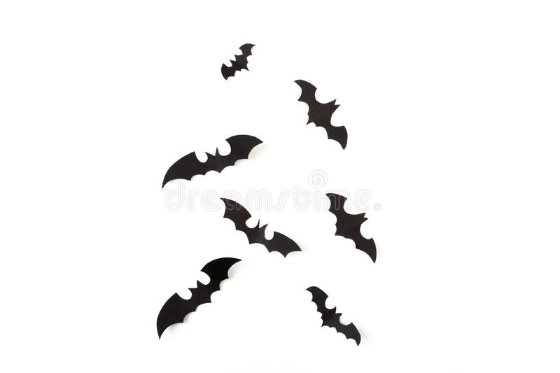 Halloween paper decorations on white  background. Halloween concept. Flat lay, top view, copy space - Image. Halloween paper decorations on white  background stock images