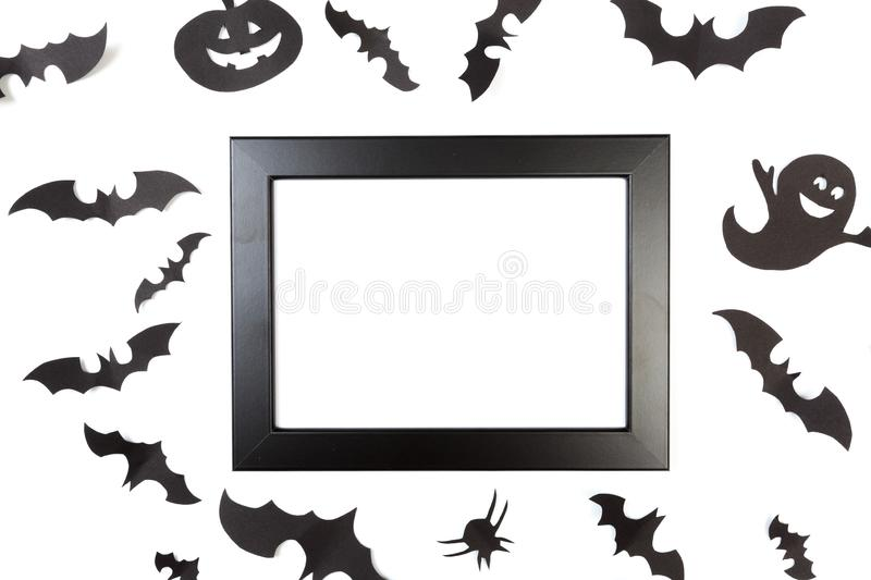 Halloween paper decorations on white  background. Halloween concept. Flat lay, top view, copy space - Image. Halloween paper decorations on white  background royalty free stock photos