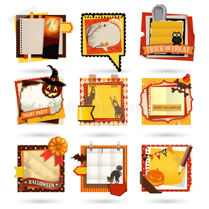 Halloween Paper notes. Scrapbooking elements royalty free illustration