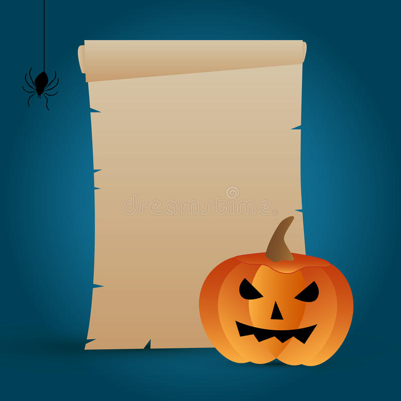 Halloween parchment. Illustration of a blank parchment for Halloween with a pumpkin on blue background royalty free illustration
