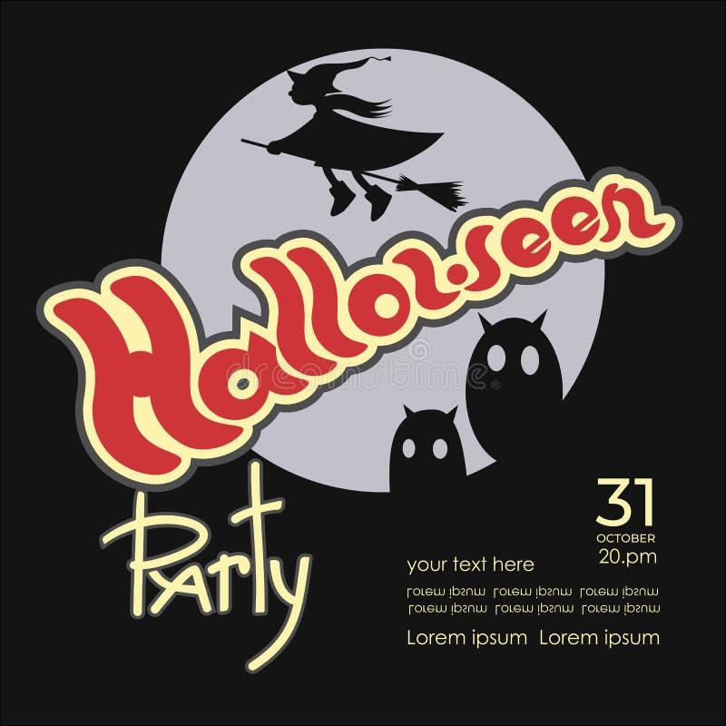 Halloween-Partei-Einladung Karikaturillustration mit mit Eulen und einer fliegenden Hexe lizenzfreie abbildung