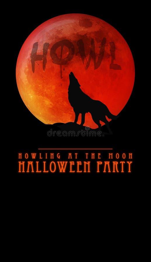 Halloween-Partei-Einladung Warewolf, das am Mond heult stock abbildung