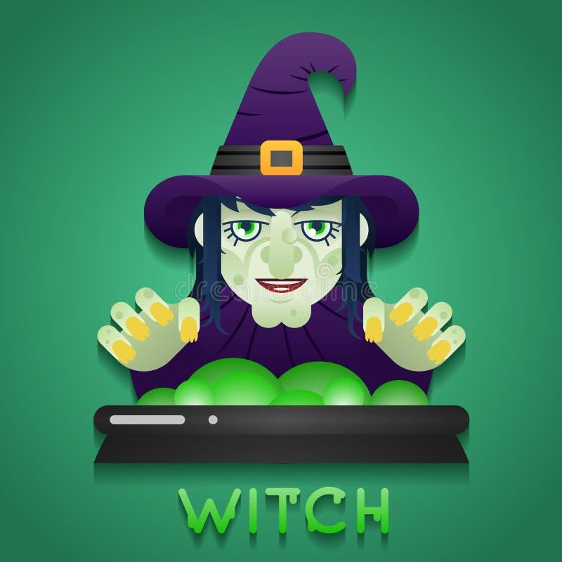 Halloween-Partei-Hexen-Rollen-Charakter-Fehlschlag-Ikonen stock abbildung