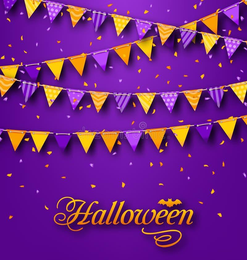 Halloween-Partei-Hintergrund mit dem Hängen der dreieckigen Schnur vektor abbildung