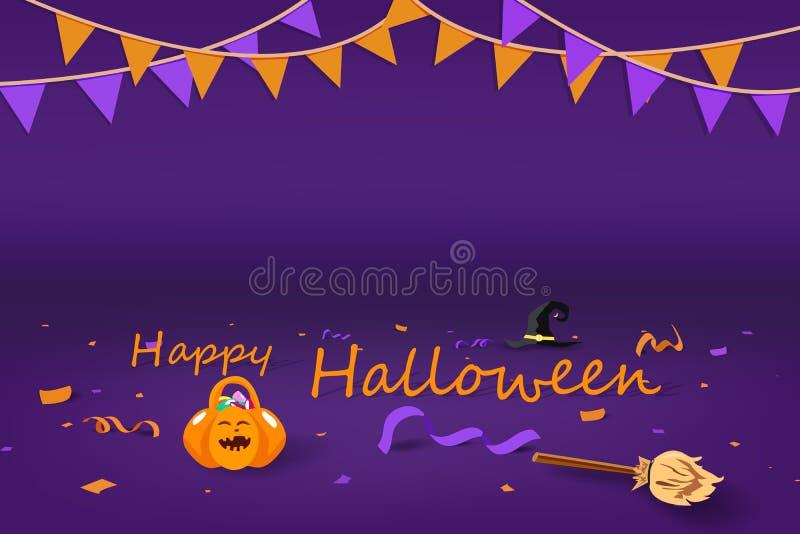 Halloween-Partei, Kürbis, Blüte, Huthexe, Konfettis und Banddekoration auf dem Boden, Feiersaisonfeiertagshintergrund lizenzfreie abbildung
