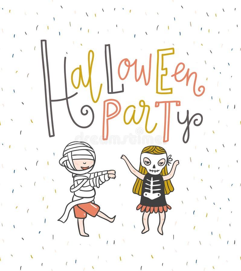 Halloween-Parteibeschriftungs-Grußkarte Reife Kirschen Hand gezeichnete stilvolle Illustration lizenzfreie abbildung
