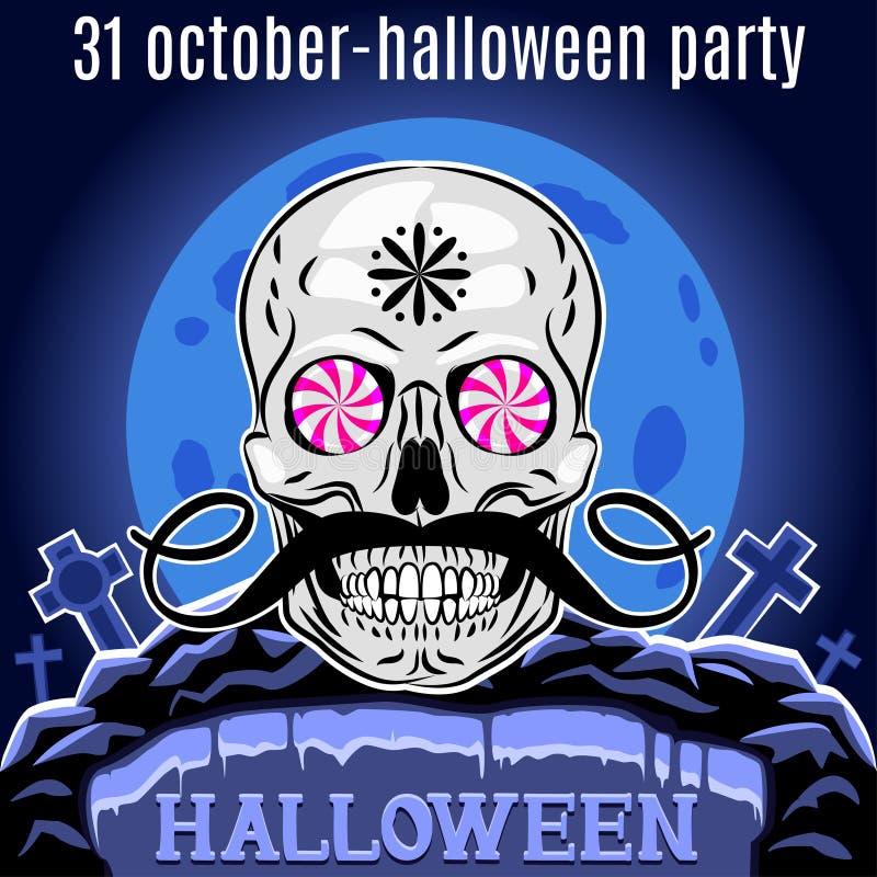 Halloween-Parteidesignschablone für Plakat Lustiger Schädel Vektor lizenzfreie abbildung