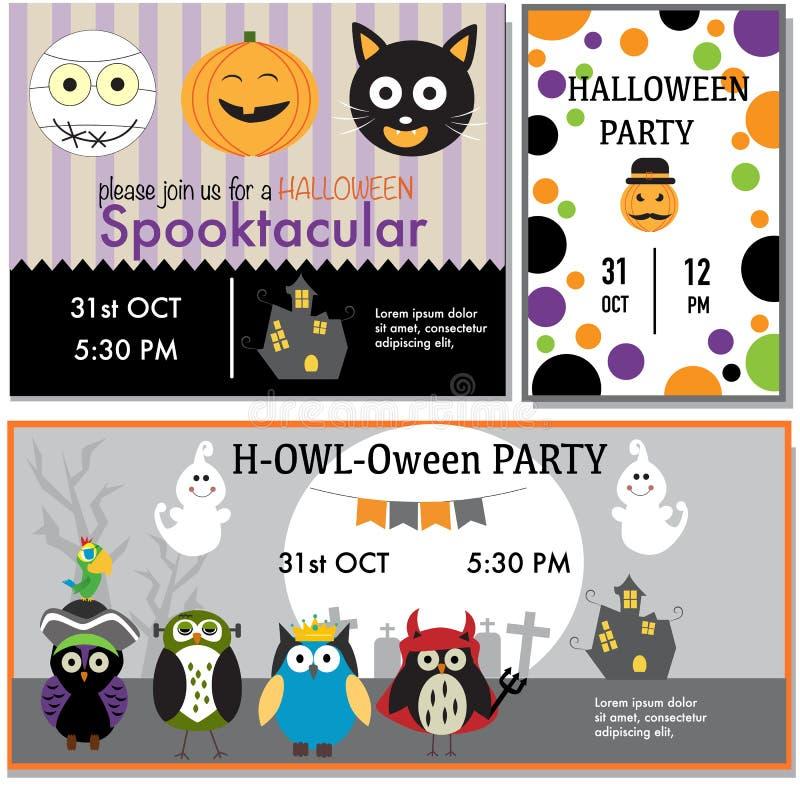 Halloween-Parteieinladung kardiert Hexe, Zombie, schwarze Katze, Eulen cha vektor abbildung
