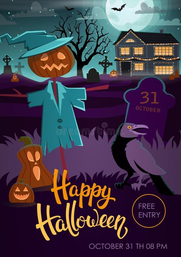 Halloween-Parteiflieger mit Vogelscheuche, Krähe, Kürbise vektor abbildung